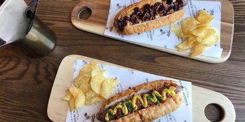 United Brew Works hotdog